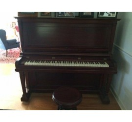 1911 Henry F Miller Upright Piano, A. Merriam eagle claw glass base stool
