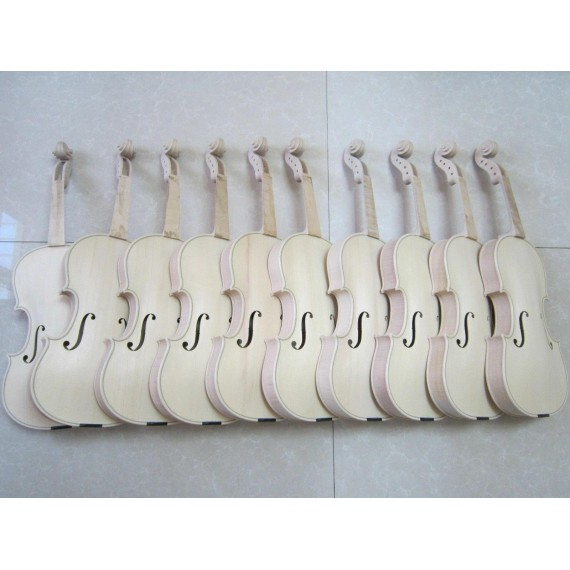 10 pcs 4/4 Unfinished violin Flame Maple Russian spruce Handmade white violin