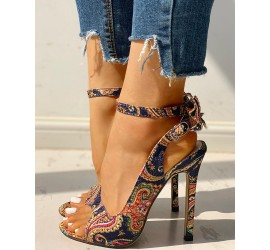 Ethnic Print Ankle Strap Slingback Thin Heeled S als