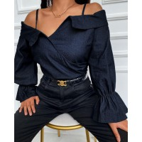 Color Flared Sleeve Blouse