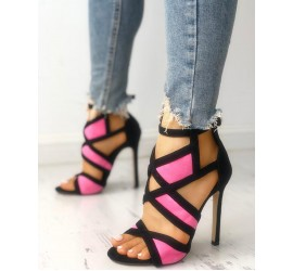 Contrast Color Caged  age Heeled Sandals