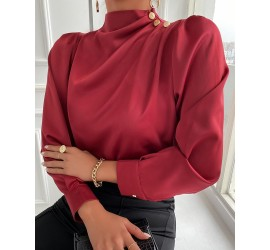 Button  cor Ruched Long Sleeve Top