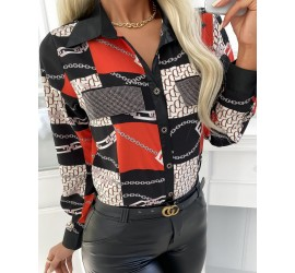 Over Print Button Front Long Sleeve Shirt