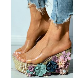 Floral Pattern Woven Flax Claer Perspex Wedge S als