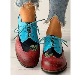 Floral Embroi ry Lace-up Colorblock Oxford Shoes
